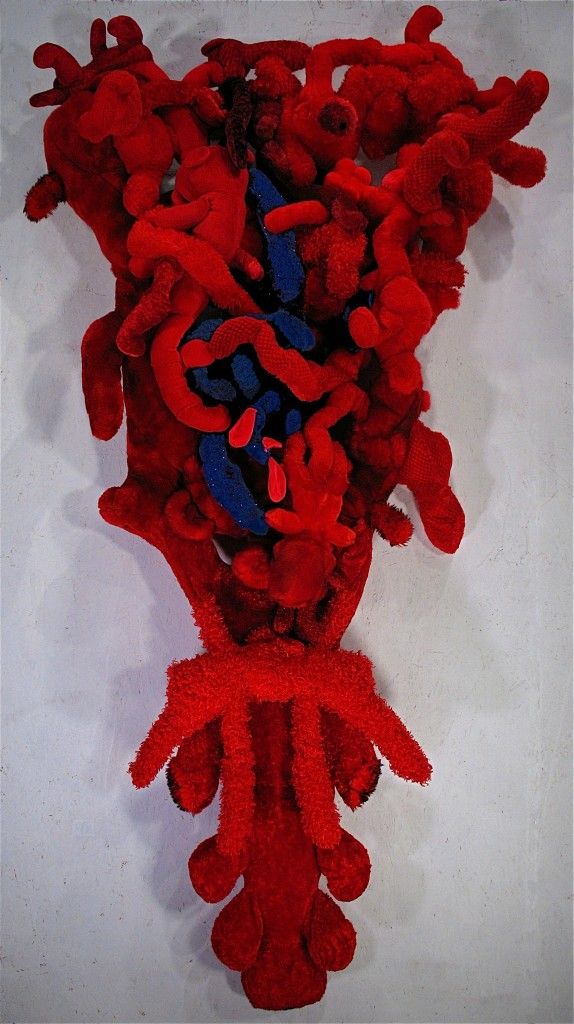 fuzzy red wall sculpture